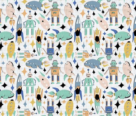 retro space robots fabric by gemmacosgroveball on Spoonflower - custom fabric