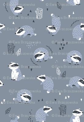 Woodland Badgers - scandinavian style - dark blue