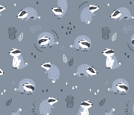 Woodland Badgers - scandinavian style - dark blue fabric by ewa_brzozowska on Spoonflower - custom fabric