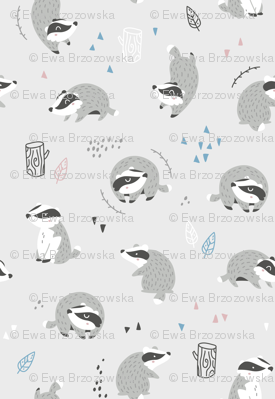 Woodland Badgers - scandinavian style - light grey