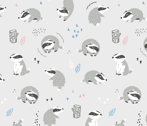 Woodland Badgers - scandinavian style - light grey fabric by ewa_brzozowska on Spoonflower - custom fabric