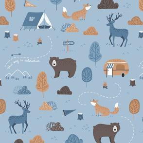 Woodland Camping - scandiavian blue