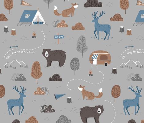 Woodland Camping - scandiavian grey fabric by ewa_brzozowska on Spoonflower - custom fabric