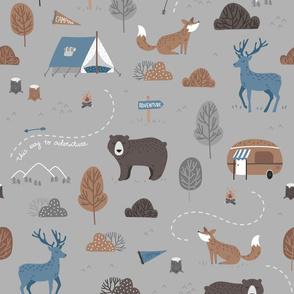 Woodland Camping - scandiavian grey