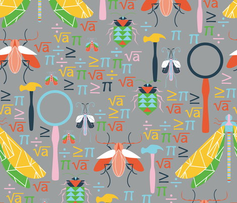 Science, Bugs and Math, Oh My! fabric by emmabrereton on Spoonflower - custom fabric