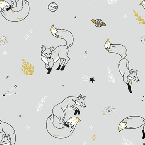 Space Fox - scandinavian black grey gold