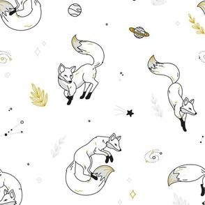 Space Fox - scandinavian black white gold
