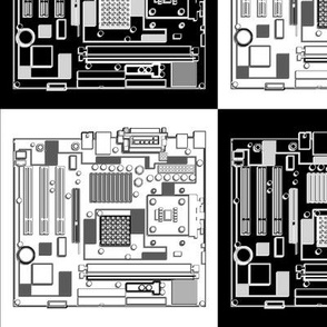 Motherboard Checkerboard, 3D Outlines