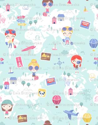 Love 2 travel - girls world map