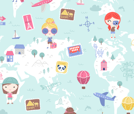 Love 2 travel - girls world map fabric by ewa_brzozowska on Spoonflower - custom fabric
