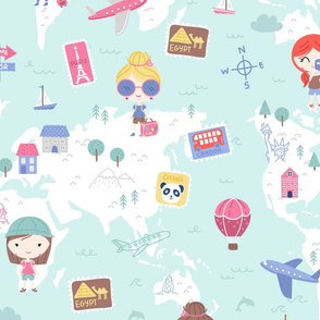 Love 2 travel - girls world map