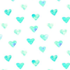 Mint watercolor heart || love pattern for nursery