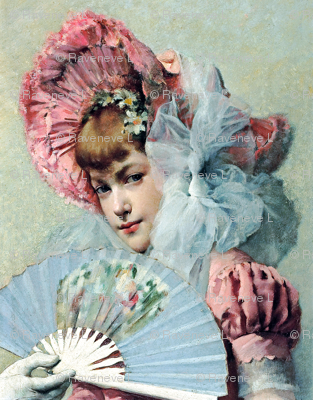 victorian pink bonnets hats beautiful girls young woman lady flowers floral big white tulle bows fans gloves 19th century shabby chic romantic beauty vintage antique elegant gothic lolita egl