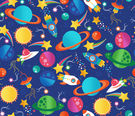 Blast Off fabric by oliveandruby on Spoonflower - custom fabric