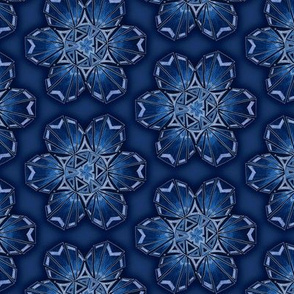 snowflake hexagons #2 - blue satin