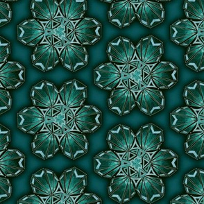 snowflake hexagons #2 - teal satin