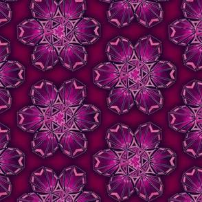 snowflake hexagons #2 - pink satin