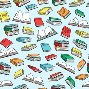 books on light blue