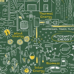 Alternative Energy Green Chalkboard