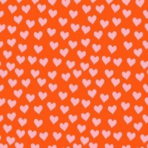 hearts in pink/orange