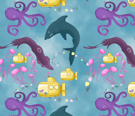 seamonsterpatternbig fabric by katherine_joyce on Spoonflower - custom fabric