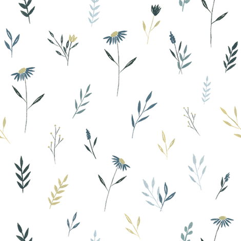 Blue Wildflower Pattern fabric by coledawndesigns on Spoonflower - custom fabric