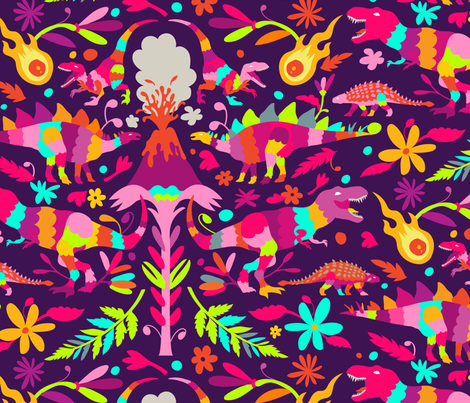 Princess Dinosaur Otomi  fabric by kellybozarth on Spoonflower - custom fabric