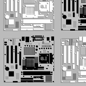 Motherboard Checkerboard, 3D Outlines, on Gray