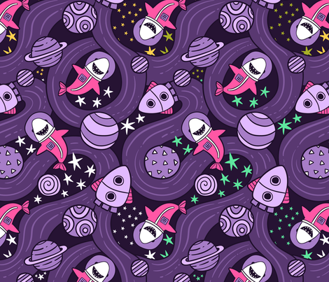 Cute shark astronaut in cosmos. Space rockets and planets fabric by kostolom3000 on Spoonflower - custom fabric