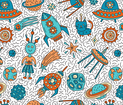 Space Princess fabric by pippi-draws on Spoonflower - custom fabric