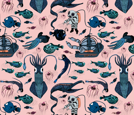 Keep exploring the deep sea  fabric by natdrawsthis on Spoonflower - custom fabric