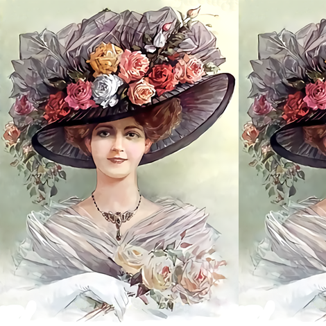 victorian edwardian big hats beautiful young woman lady flowers floral  roses lace 19th 20th century romantic beauty vintage antique tulle bouquet  elegant ... af32fb20574