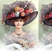 victorian edwardian big hats beautiful young woman lady flowers floral roses lace 19th 20th century romantic beauty vintage antique tulle bouquet elegant gothic lolita egl
