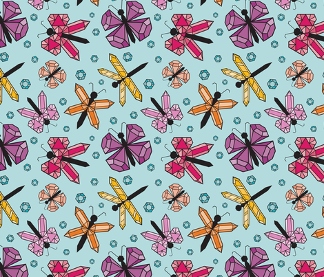 Fluttering Jewels fabric by poshpeacockdesigns on Spoonflower - custom fabric