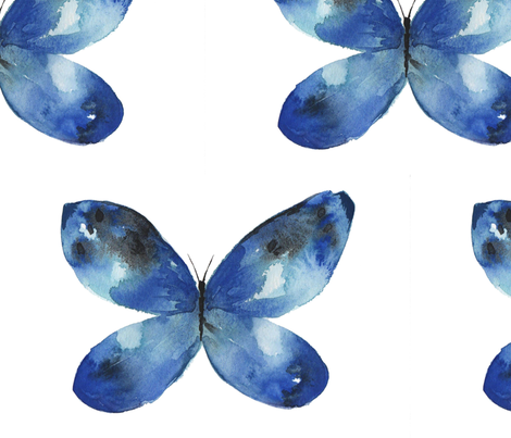 Blue Butterfly No. 2 fabric by emeraldtreeart on Spoonflower - custom fabric
