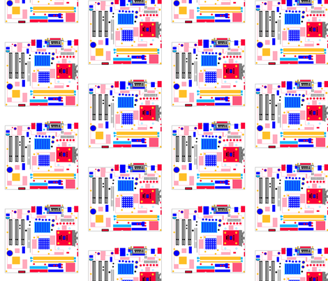 Mondrian Motherboard fabric by anneostroff on Spoonflower - custom fabric