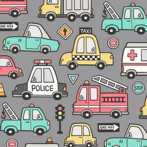Cars Vehicles Doodle fabric on Dark Grey