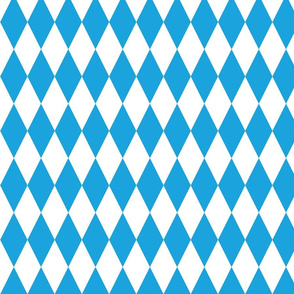 Oktoberfest Bavarian Blue and White Medium Diagonal Diamond Pattern