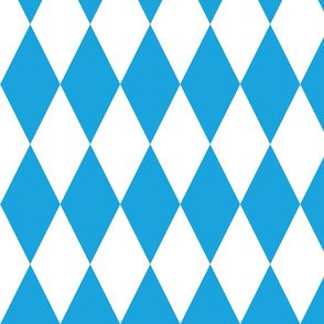Oktoberfest Bavarian Blue and White Large Diagonal Diamond Pattern