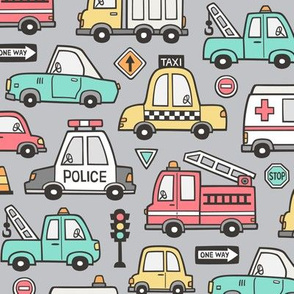 Cars Vehicles Doodle fabric on Light Grey