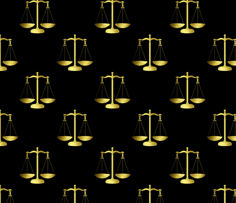 Gold Scales Of Justice on Black Repeat  fabric by paper_and_frill on Spoonflower - custom fabric