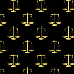 Gold Scales Of Justice on Black Repeat