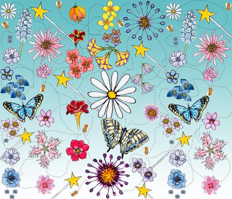 flower power shower V2 fabric by florodoro on Spoonflower - custom fabric