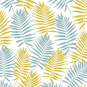 Blue and Yellow Palm Leaves