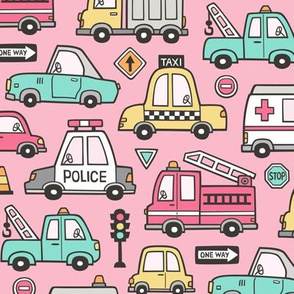 Cars Vehicles Doodle fabric on Pink
