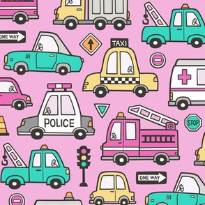Cars Vehicles Doodle fabric on Magenta Pink