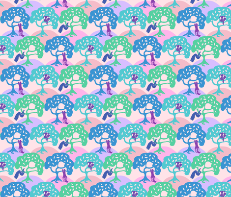 Girls and the Gravity fabric by agnessomogyi on Spoonflower - custom fabric
