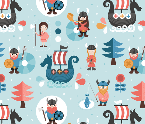 Vikings fabric by la_fabriken on Spoonflower - custom fabric