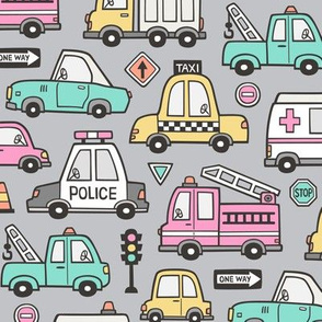 Cars Vehicles Doodle fabric Pink on Light Grey