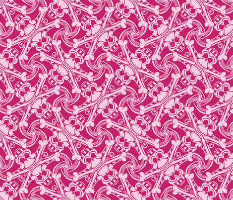 ★ PIRATE SKULL PLAID ★ Hot Pink - Large Scale / Collection : Funky Pirates - Skull and Crossbones Prints 2 fabric by borderlines on Spoonflower - custom fabric